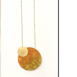 Silky Moons TWO MOONS NECKLACE in orange and yellow