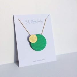 Silky Moons Two Moons Pendant Necklace Small in green
