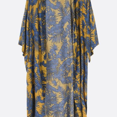 A Mustard Tropical Leaf Print kimono. Very elegant and easy to wear long line kimono in a beautiful Japanese inspired fabric. This would look amazing styled over jeans and vest, or over swimsuit, or as loungewear as a dressing gown alternative. The Garment is very soft and has a lovely drape, it is 100% viscose. The sizing is very generous and it is one size fits all.