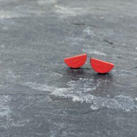 Ishbel Watson Tiny stud half moon earrings in Orange