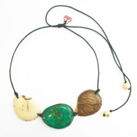 Trio Marble Tagua Slice Light Necklace with green nut