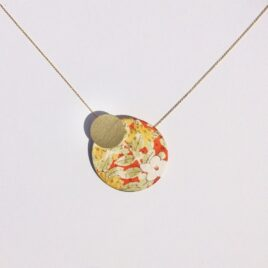 Silky Moons TWO MOONS NECKLACE Red Floral