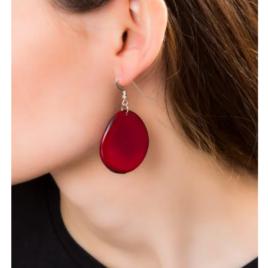 Folha Tagua nut earrings in red