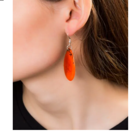 Folha Tagua Nut Earrings in orange