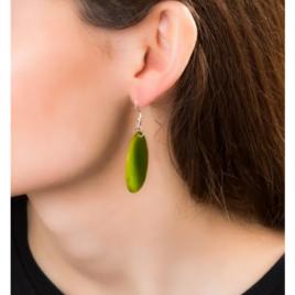 Folha Tagua Nut Earrings In Green