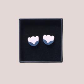 Freyja – Scandinavian folk inspired stud earrings pale pink
