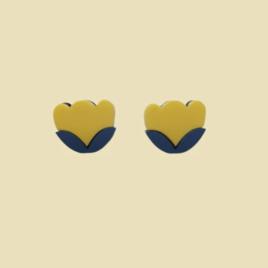 Tuva – Scandinavian folk inspired stud earrings mustard