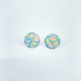 Large circle statement studs in Light Blue, pink and yellow