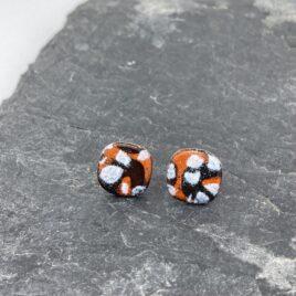 Orange Pattern Ear Studs