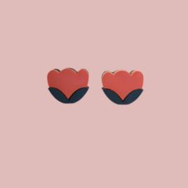 Laila – Scandinavian folk inspired stud earrings coral