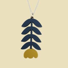 Dahlia -Scandinavian folk inspired pendant mustard